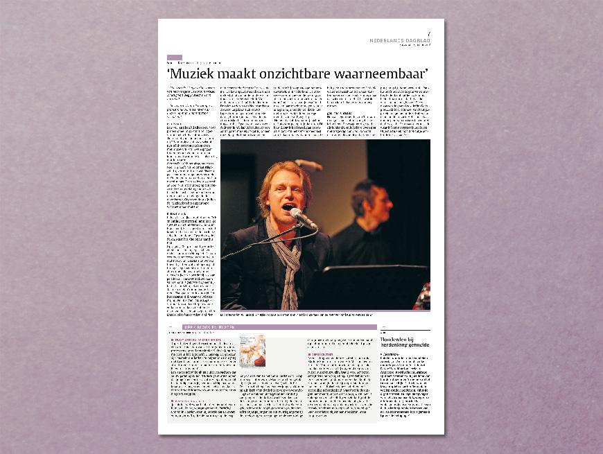 Nederlands Dagblad: Muziek maakt onzichtbare waarneembaar