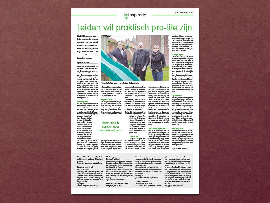 Leiden wil praktisch pro-life zijn | Katholiek Nieuwsblad, tekst: Sjoukje Dijkstra