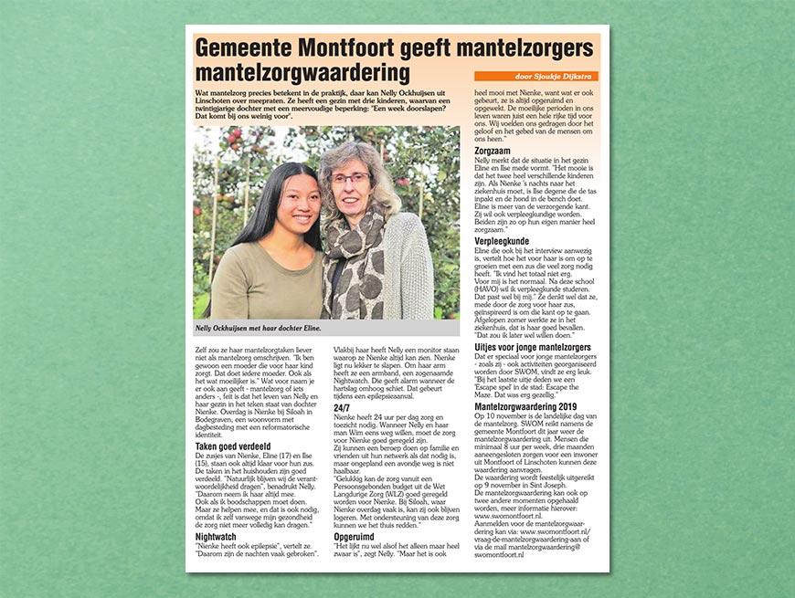 Gemeente Montfoort geeft mantelzorgers mantelzorgwaardering