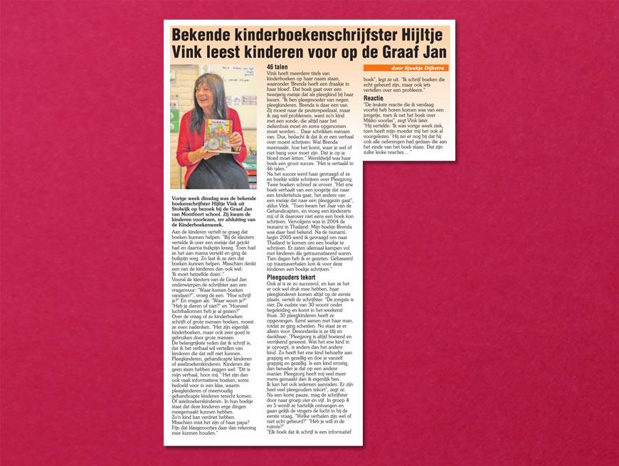 Bekende kinderboekenschrijfster Hijltje Vink leest kinderen voor op Graaf Jan