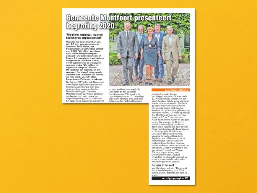 Gemeente Montfoort presenteert begrting 2020 | Tekst: Sjoukje Dijkstra