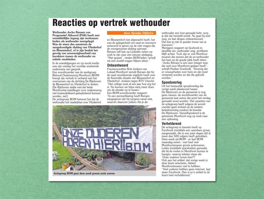 Reacties op vertrek wethouder | Tekst: Sjoukje Dijkstra